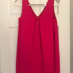 Trina Turk Pink pleated zippered back.  V- neck!